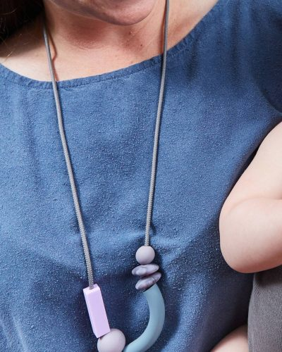 pewter balance teething necklace lifestyle 2